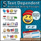 January Text Dependent Reading - Text Dependent Writing Prompts (Option 1)