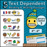 January Text Dependent Reading - January Activities (Option 3)