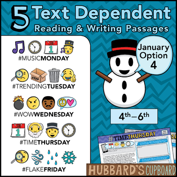 January Text Dependent Reading - January Writing Prompts (Option 4)