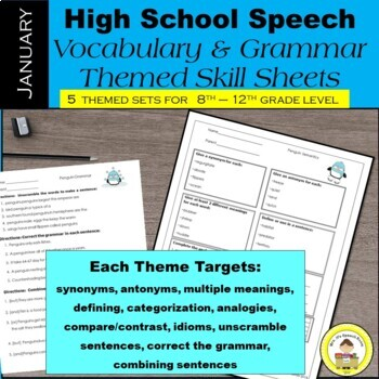 January Speech Therapy Theme-Based Vocabulary and Grammar Worksheets