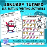 January Themed Adapted Unit for ELA, Writing and Math in SpEd or Autism Units