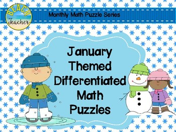 January Themed Differentiated Math Puzzles