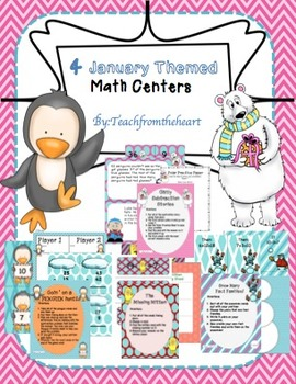 January Themed Math Centers for Second Grade