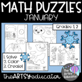 January Themed Math Puzzles - Color by Sum and Difference!
