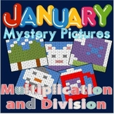 January Themed Mystery Pictures for Multiplication and Division Review