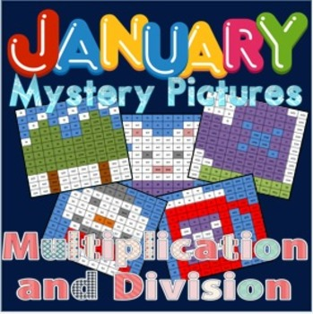 January Themed Mystery Pictures for Multiplication and Div