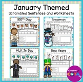 January Themed Writing Scrambled Sentences and Worksheets Bundle