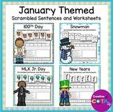 January Themed Writing Scrambled Sentences and Worksheets Bundle