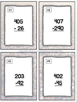 January Themed Subtracting Across 0 Task Cards & Game 2.NBT.5