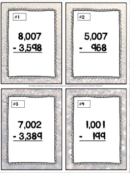January Themed Subtracting Across Mutiple 0's Task Cards & Game 4.NBT.4