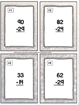 January Themed Subtraction With Regrouping Task Cards & Game