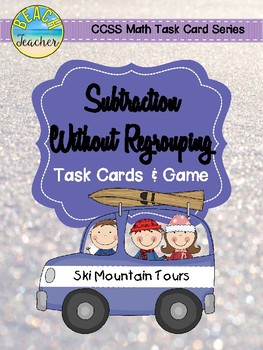 January Themed Subtraction Without Regrouping Task Cards & Game