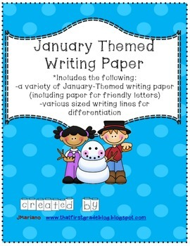 January Themed Writing Paper