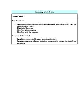 Arctic Unit Plan for Kindergarten/ Preschool