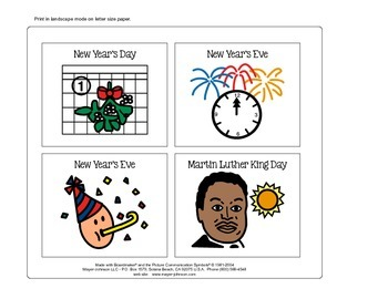 January Vocabulary Cards