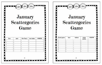 January Vocabulary Scattergories Game