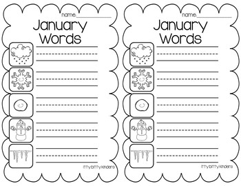 January Words - Vocabulary Cards