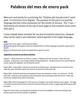 January Vocabulary Words Palabras de enero Vocabulario