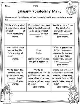 January Vocabulary and Spelling Menu (Freebie)