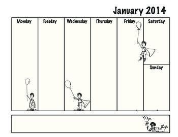 January Weekly Calendar/Chart