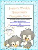 January Weekly Homework Common Core