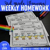 Third Grade Math & ELA Homework: January