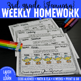 Third Grade Math & ELA Homework: January