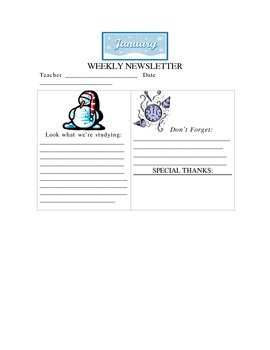 January Weekly Newsletter Template