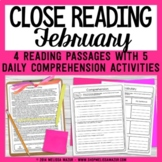 February Close Reading - Valentine's Day Reading Passages with Comprehension