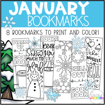 January Winter Bookmarks - to color!