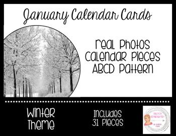 January Winter Calendar Cards-Real Photos