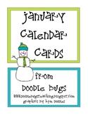 January / Winter Calendar Cards