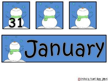 Calendar: January Winter ~ Number Order 1-31