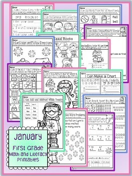 January Winter First Grade Math and Literacy NO PREP Common Core Aligned