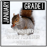 Distance Learning January Winter First Grade Math and Literacy NO PREP
