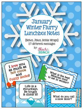 January *Winter Flurry*  Lunchbox Notes, Jokes, & Bottle Wraps