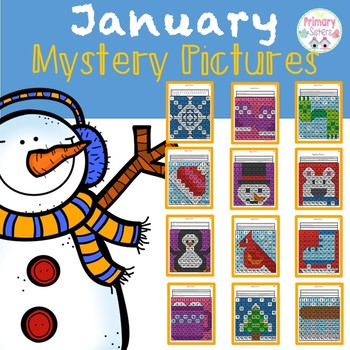 January Hidden Mystery Picture using a 100 chart