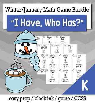 "January Winter Kindergarten ""I Have, Who Has"" Math Game Bundle"