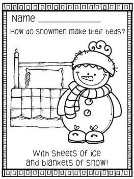 """January Winter """"Just For Fun"""" Coloring Joke Book Printables"""