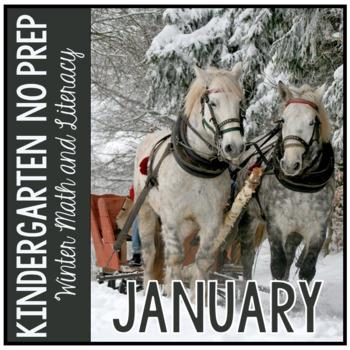 January Winter Kindergarten Math and Literacy NO PREP Common Core Aligned