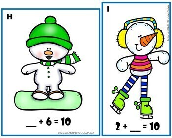 January Winter Math Snowman BUNDLE addition subtraction multiplication graphing