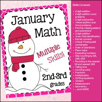 January (Winter) Math unit - (No Prep) Multiple Skills for