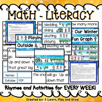 January Winter Pocket Chart Activities, Hibernation, Snowmen, Winter Activities