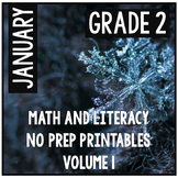January Winter Second Grade Math and Literacy NO PREP Common Core Aligned
