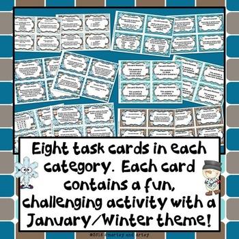 January Winter Task Card Choice Board