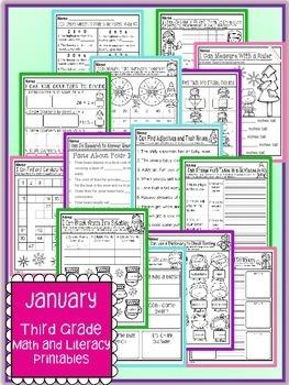January Winter Third Grade Math and Literacy NO PREP Common Core Aligned