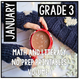 January Winter Third Grade Math and Literacy NO PREP Common Core Aligned