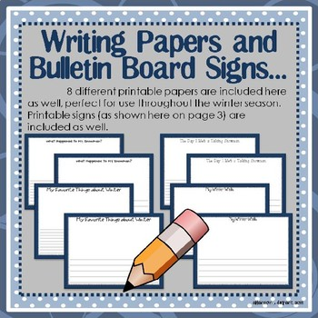 January, Winter, and Snowman Bulletin Board Craftivity and Writing Printables