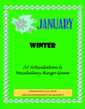 January - Winter /r/ Articulation and Vocabulary Bingo