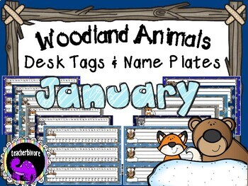 January Woodland Animals Theme Desk Tags and Name Plates